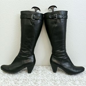ECCO 'Hope' Black Leather Heeled Riding Boots